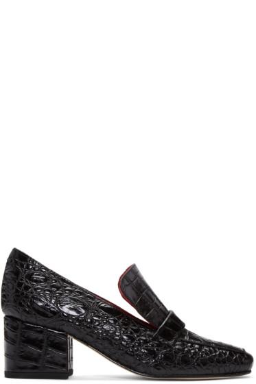 Dorateymur - Black Python-Embossed Turbojet Heels