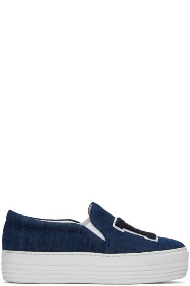 Joshua Sanders - Blue Denim 'LA' Double Slip-On Sneakers