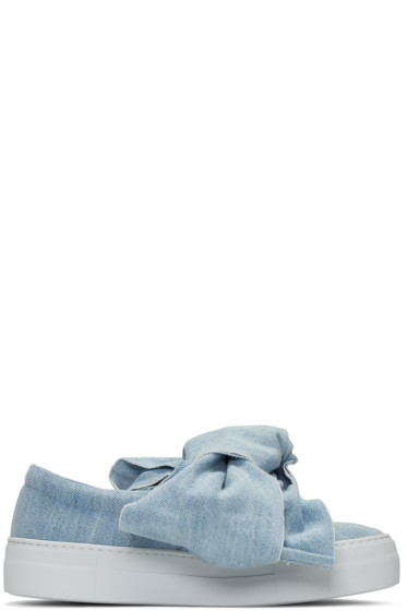 Joshua Sanders - Blue Denim Bow Double Slip-On Sneakers