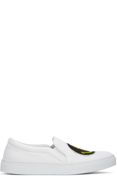 Joshua Sanders - White Rainbow Smile Double Slip-On Sneakers
