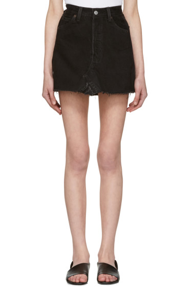 Re/Done - Black Denim High-Rise Miniskirt
