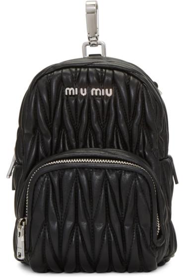 Miu Miu - Black Leather Mini Matelassé Backpack
