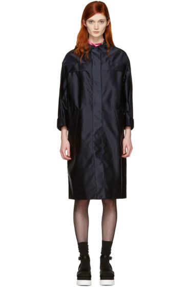 Miu Miu - Navy Satin Bomber Coat