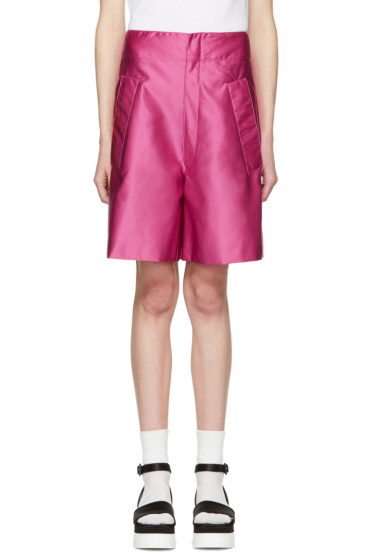 Miu Miu - Fuschia Satin Drop Waist Shorts