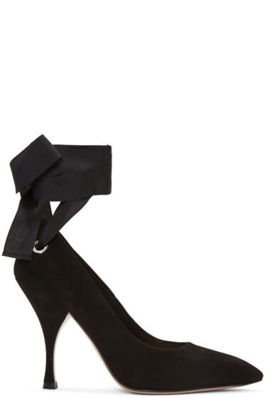 Miu Miu - Black Suede Grommet & Ribbon Heels