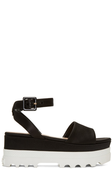 Miu Miu - Black Satin Platform Sandals