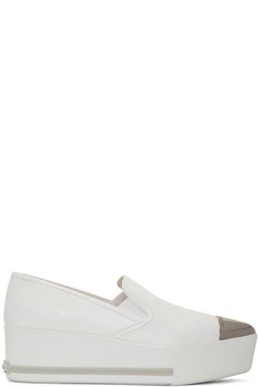 Miu Miu - White Platform Slip-On Sneakers