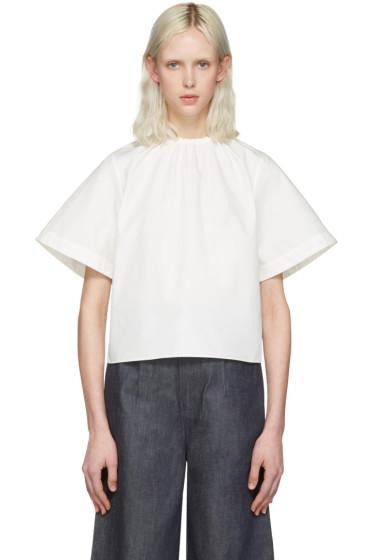 Shushu/Tong - White Elastic Neckline Blouse