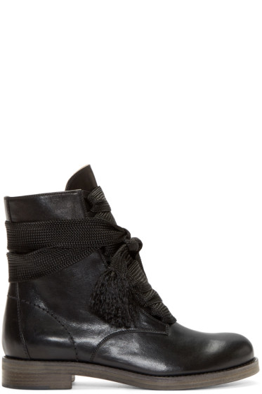 Chloé - Black Leather Lace-Up Ankle Boots