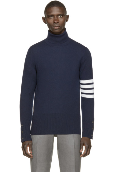 Thom Browne - Navy Striped Cashmere Turtleneck