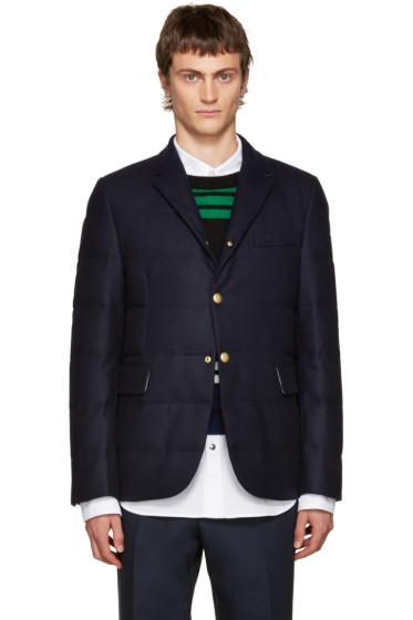 Moncler Gamme Bleu - Blue Wool Quilted Down Blazer