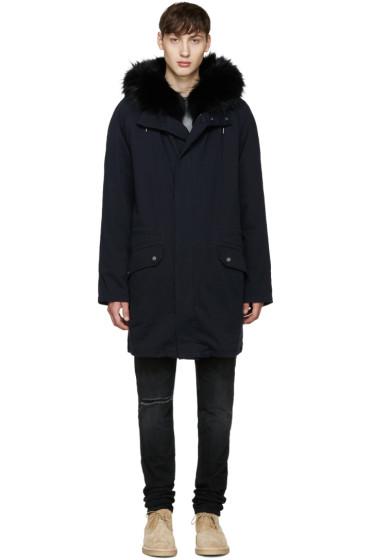 Yves Salomon - Navy Fur-Lined Original Parka