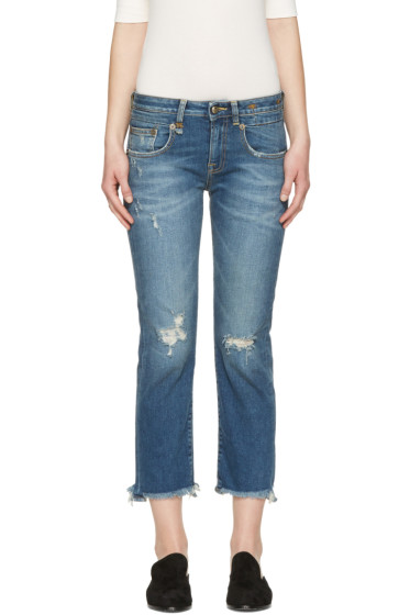 R13 - Blue Frayed Straight Boy Jeans