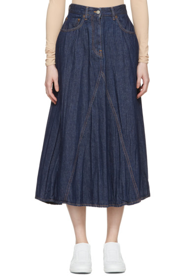 MM6 Maison Margiela - Indigo Crumpled Denim Skirt