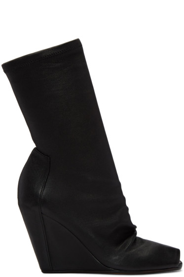 Rick Owens - Black Sock Wedge Boots