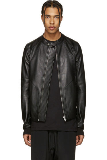 Rick Owens - Black Leather Panelled Jacket