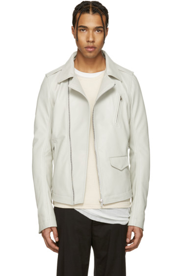 Rick Owens - Ivory Leather Stooges Jacket