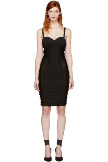 Balmain - Black Ruched Mesh Dress