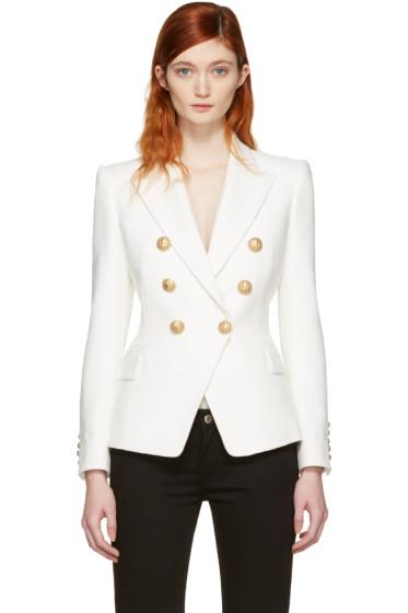Balmain - White Double-Breasted Blazer