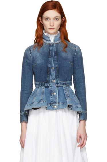 Alexander McQueen - Blue Denim Peplum Jacket