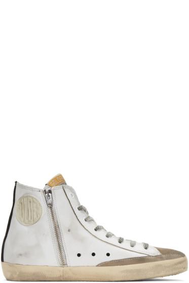 Golden Goose - White & Black Flag Francy High-Top Sneakers