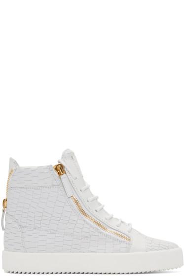Giuseppe Zanotti - White Croc-Embossed High-Top London Sneakers