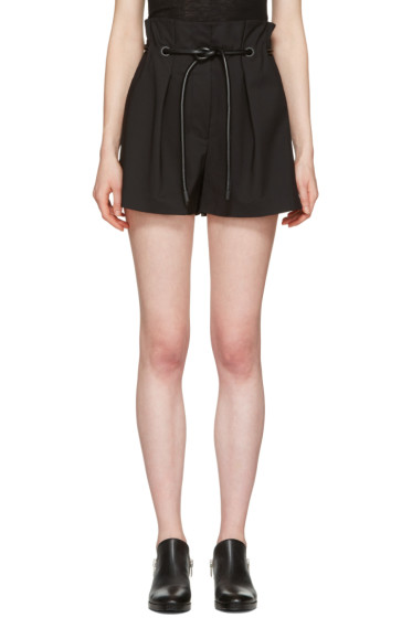 3.1 Phillip Lim - Black Tailored Pleated Shorts