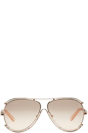 Chloé - Rose Gold Aviator Sunglasses