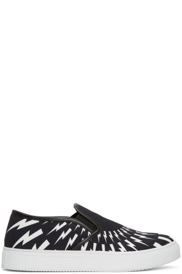 Neil Barrett - Black & White Thunderbolt Slip-On Sneakers
