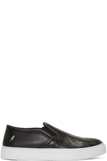 Neil Barrett - Black Leather Thunderbolt Slip-On Sneakers