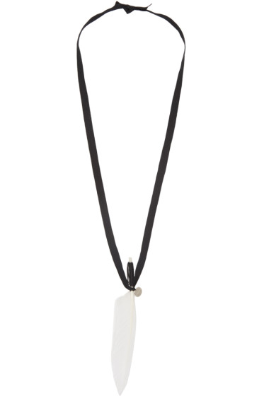 Ann Demeulemeester - White Ribbon & Feather Necklace