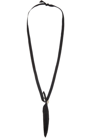 Ann Demeulemeester - Black Ribbon & Feather Necklace