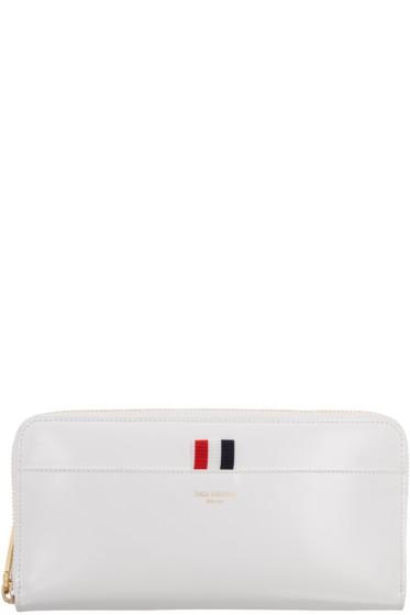 Thom Browne - White Long Zip Around Wallet