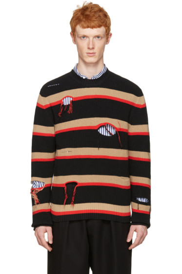 MSGM - Black Destroyed Stripes Sweater