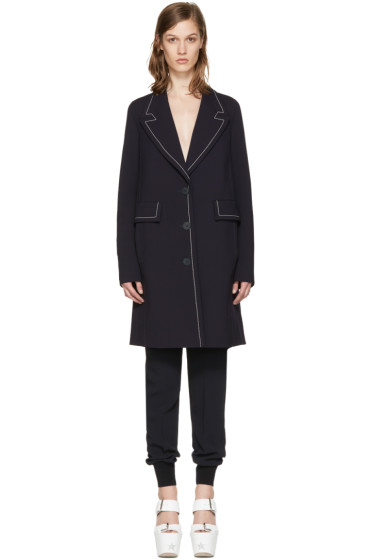 Stella McCartney - Navy Wool Fitted Coat