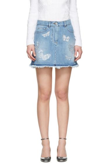 Valentino - Blue Denim Embroidered Butterfly Miniskirt