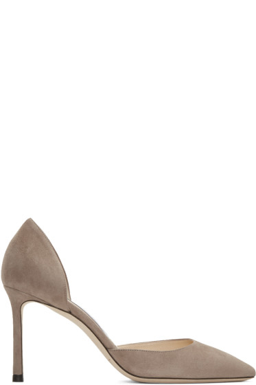 Jimmy Choo - Taupe Suede Esther D'Orsay Heels