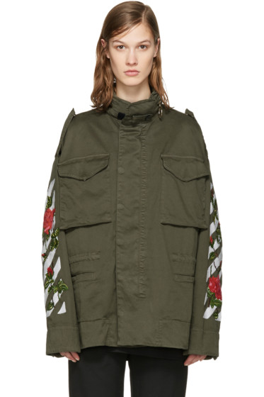 Off-White - Green Diagonal Roses Jacket