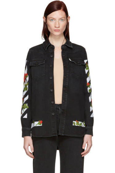 Off-White - Black Denim Diagonal Roses Shirt