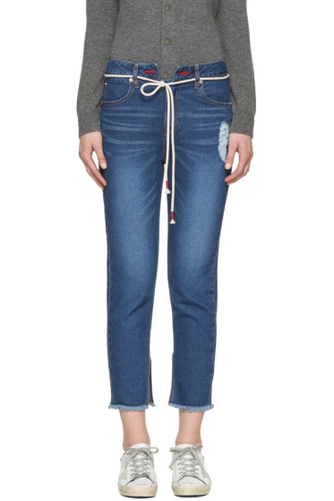 SJYP - Indigo Cut-Off String Jeans