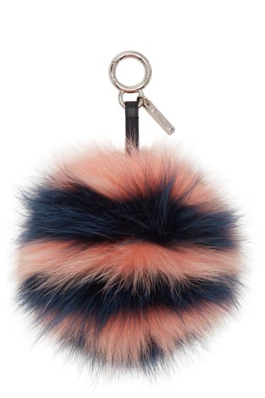 Fendi - Blue & Pink PomPom Keychain