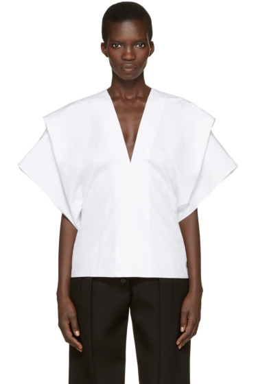 Victoria Beckham - White V-Neck Cape Blouse