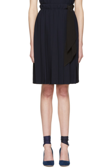 Miu Miu - Navy Pleated Bow Skirt