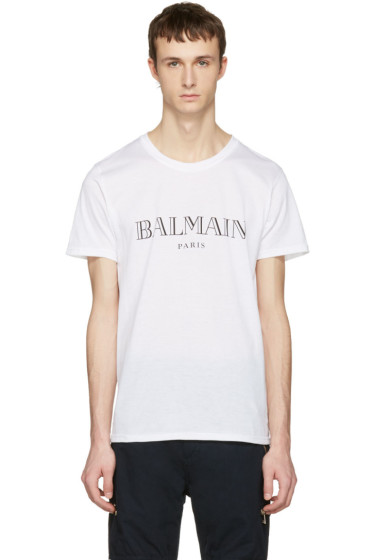 Balmain tops for men ssense for Balmain white logo t shirt