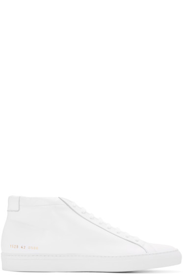Common Projects - White Original Achilles Mid-Top Sneakers
