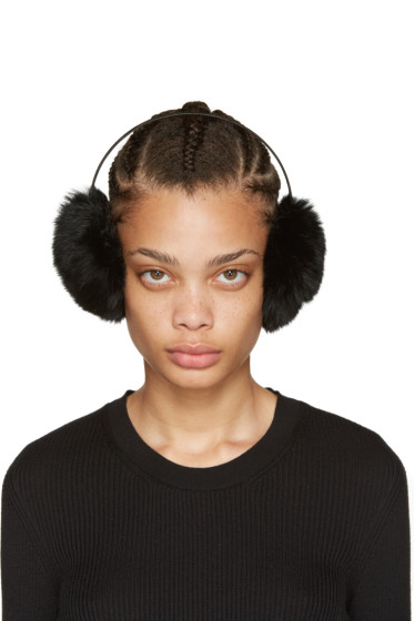 Yves Salomon - Black Fur Earmuffs