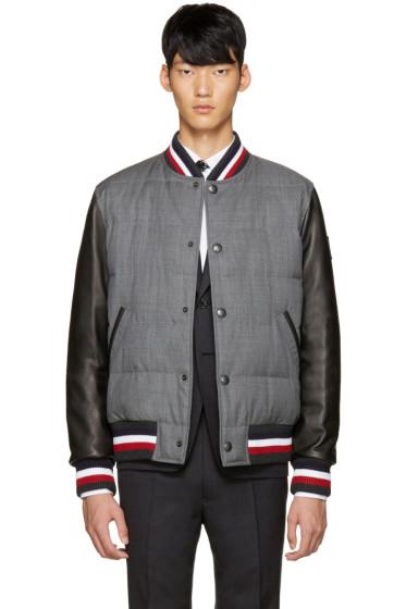 Moncler Gamme Bleu - Grey Leather Sleeve Bomber Jacket