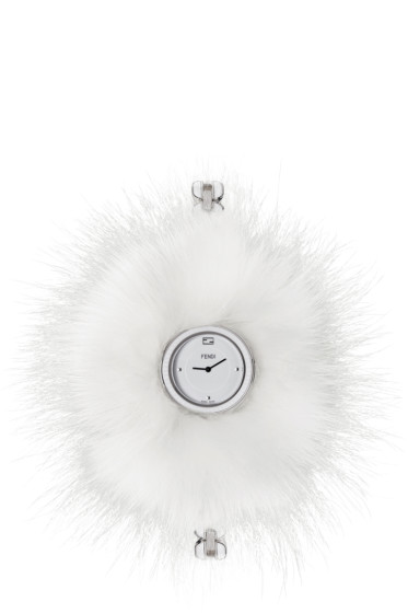 Fendi - Silver & White My Way Fur Glamy Watch