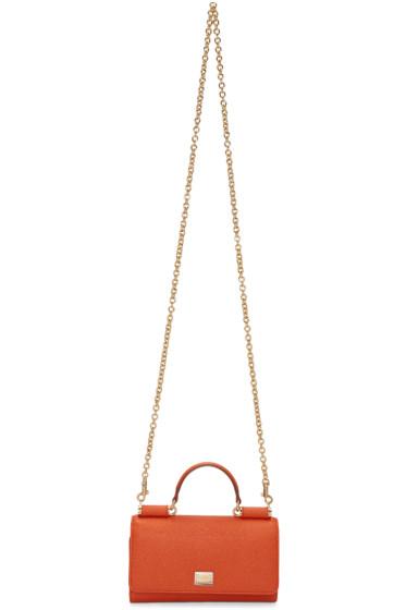 Dolce & Gabbana - Orange Small Chain Wallet Bag