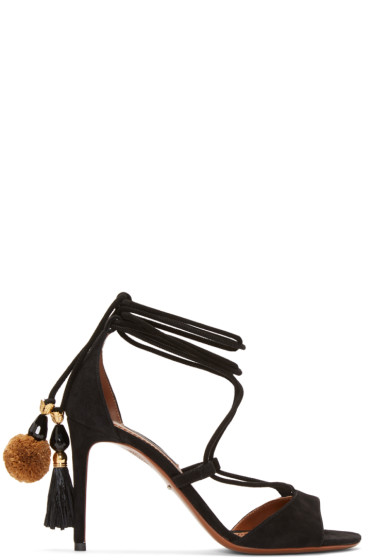 Dolce & Gabbana - Black Suede Lace-Up Sandals